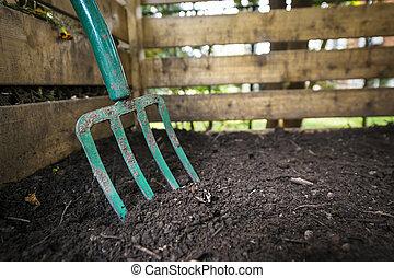 gaffel, kompost, vändning, trädgård