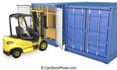 gaffel, last behållare, gul, hiss, lastbil, unloads