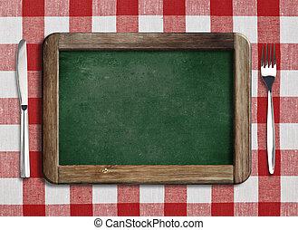 gaffel, meny, kniv, blackboard, bord, lögnaktig