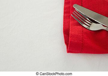 gaffel, smör, servett, kniv