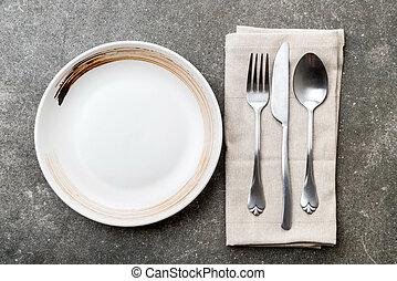 gaffel, tallrik ös, tom, kniv