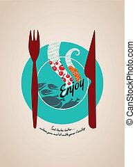 gaffel, tallrik, illustration, måltiden, kniv, lycklig