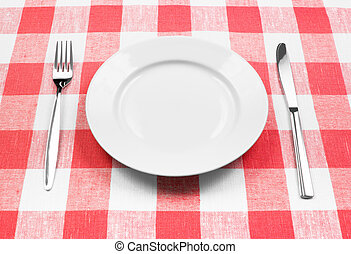 gaffel, tallrik, rutig, vit, kniv, bordduk, röd