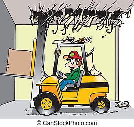 gaffeltruck, låg, rensning