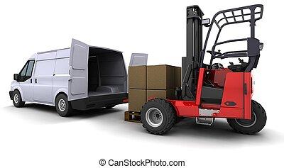 gaffeltruck, skåpbil, ladda, lastbil
