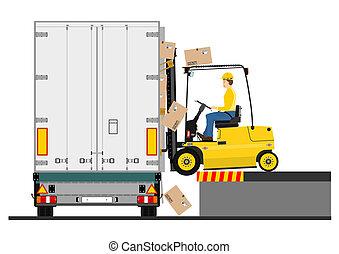 gaffeltruck, släpvagn