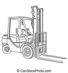 gaffeltruck, vektor, skissera
