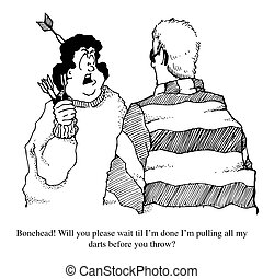 Gag Cartoon of an Impatient Dart Player. - A gag cartoon of ...