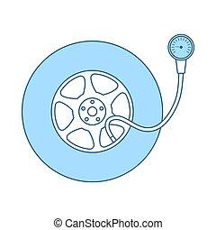 gage, pression, pneu, icône