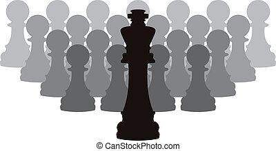 gages, roi, vecteur, morceaux échecs