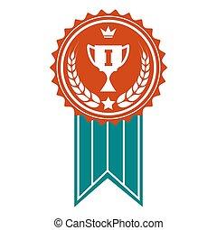 gagnant, écusson, coloré, récompense