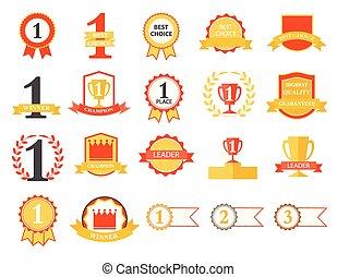 gagnant, choix, endroit, insignes, rubans, mieux, premier