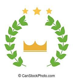 gagnant, emblème, image, couronne, couronne, étoiles, laurier