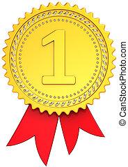 gagnant, endroit, récompense, ruban, premier