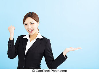 gagnant, femme, geste, business, heureux