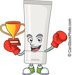 gagnant, fièrement, caractère, boxe, figure, blanc, présenté, dessin animé, tube, conception, plastique