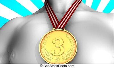 gagnant, médaille, bronze