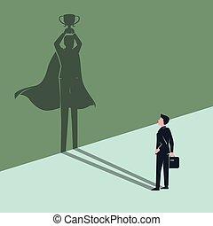 gagnant, ombre, homme affaires, voit, employé, superhero, lui-même