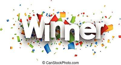 gagnant, papier, banner.