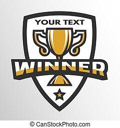 gagnant, sports, trophée, logo, emblem.