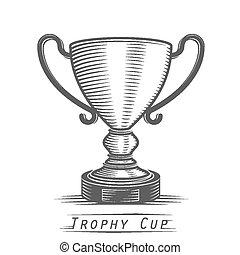 gagnant, tasse, vendange, tatouage