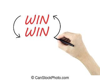 gagner, écrit, homme, mots, main