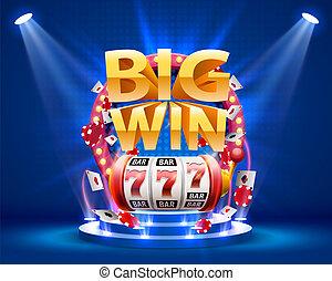 gagner, 777, bannière, grand, casino., fentes
