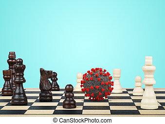 gagner, aimer, contre, stratégie, coronaviru, jeu, échecs, covid19