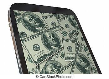 gagner, argent, app, espèces, illustration, téléphone portable, revenu, intelligent, 3d