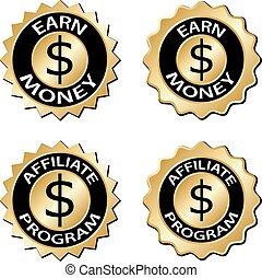 gagner, argent, programme affiliée, doré, étiquette