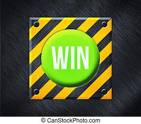 gagner, bouton, vert