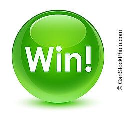 gagner, bouton, vitreux, vert, rond