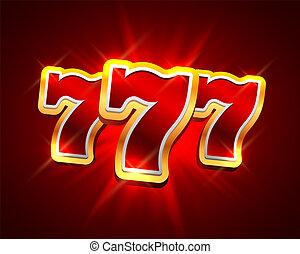 gagner, casino, 777, bannière, grand, arrière-plan., fentes