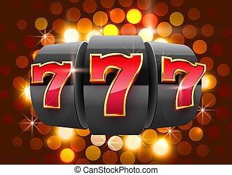 gagner, casino, concept., 777, grand, noir, machine, gagne, ...