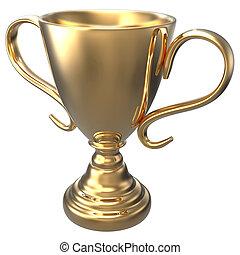 gagner, championnat, trophée or, récompense