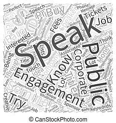 gagner, concept, mot, argent, comment, métier, parler, public, nuage