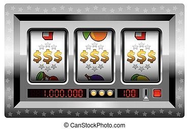 gagner, dollars, machine, rainure, argent