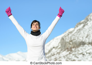 gagner, femme, sport, reussite, fitness