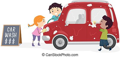 gagner, gosses, stickman, argent, illustration, laver, voiture