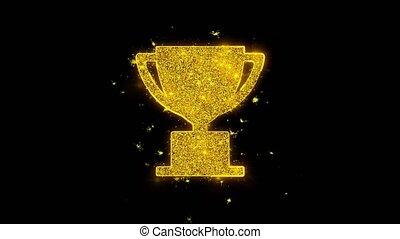 gagner, icône, noir, arrière-plan., tasse, trophée, particules, étincelles