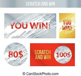 gagner, labels., marques, effect., gagnant, égratignure, loto, concept