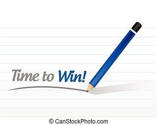gagner, message, conception, illustration, temps