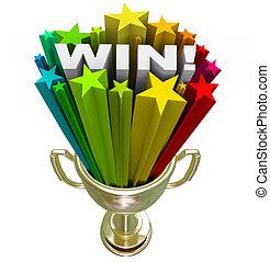gagner, mot, dans, trophée, -, éclater, de, étoiles, feux...
