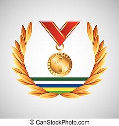 gagner, olympique, médaille, emblème, jeux
