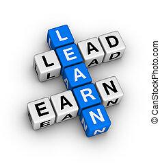 gagner, plomb, apprendre