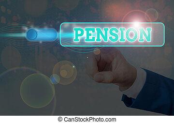 gagner, retraite, après, pension., texte, revenu, aînés, écriture, signification, personnes agées, concept, sauve, years.