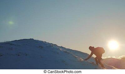 gagner, sommet, snow., problème, montagne, silhouette, hiver...