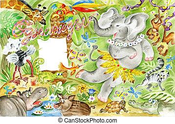 gai, éléphant, jungle, danse