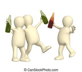 gai, amis, bouteilles bière