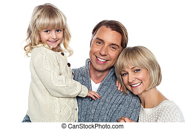 gai, appareil photo, poser, trois, famille